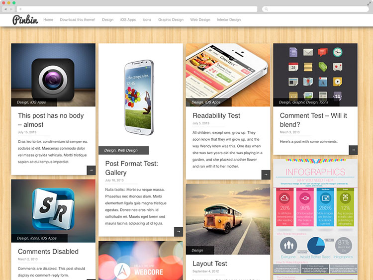 Pinbin - Free Grid WordPress Theme