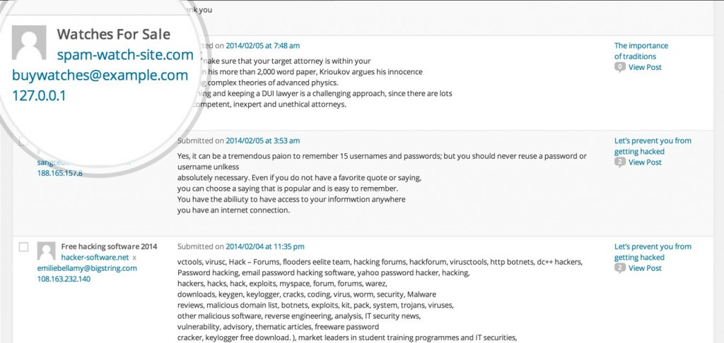 01 akismet sample-spam-screenshot