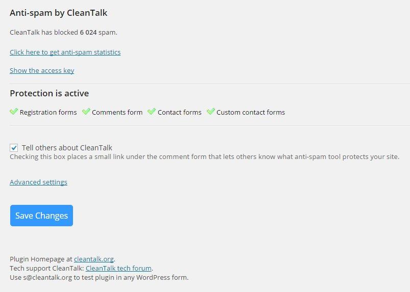 02 cleantalk sample screen