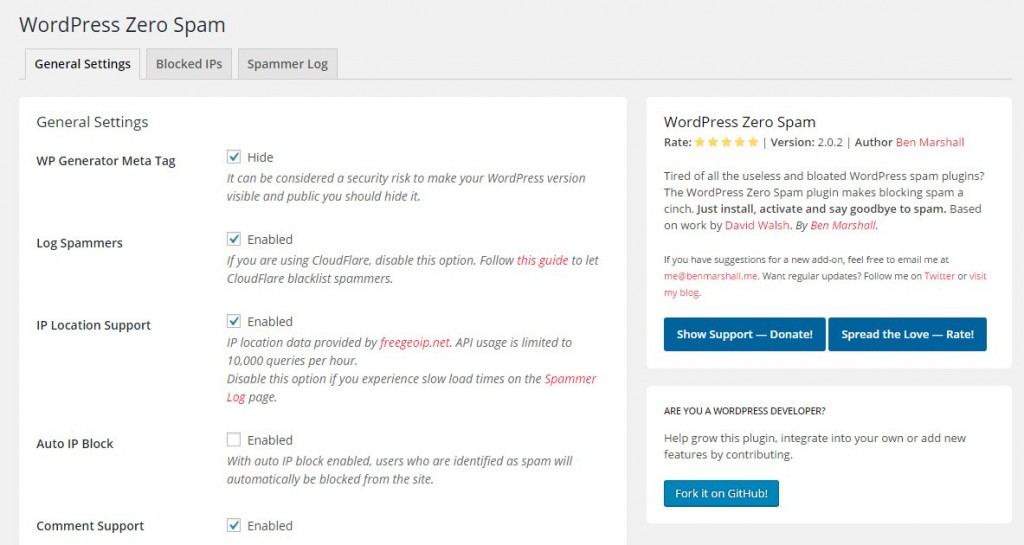 06 wordpress zero spam settings