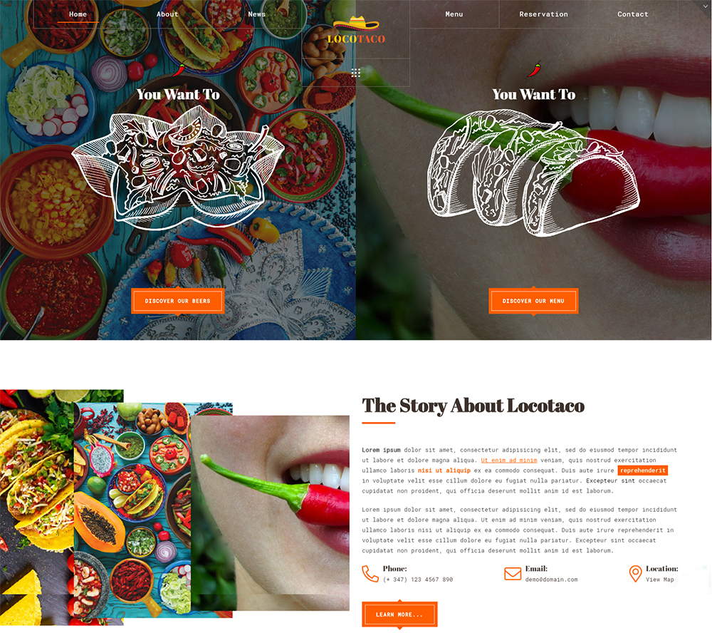 locotaco | Mexican Restaurant and Bar Website Template