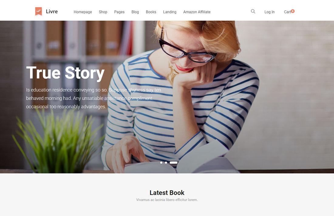 Livre - website design for writers