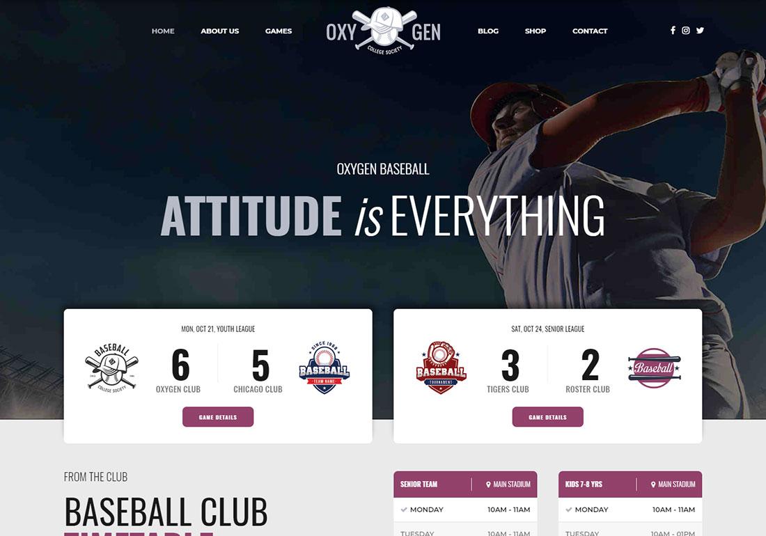 Oxigeno baseball WordPress theme