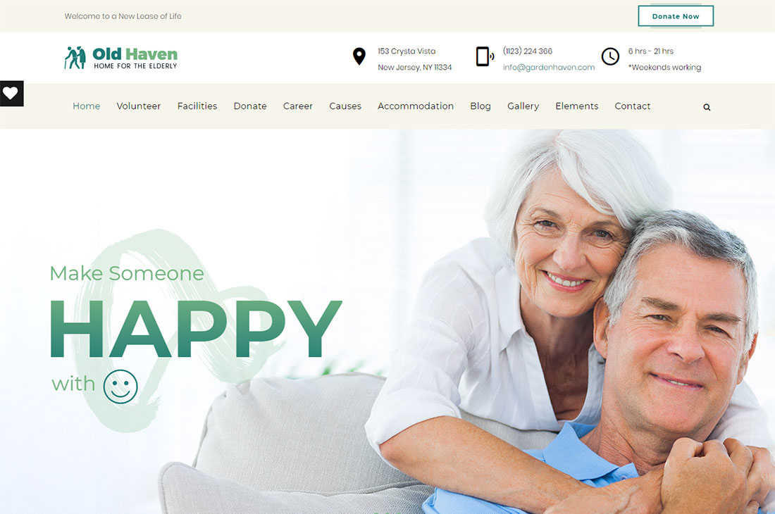 old haven elderly care wordpress themes