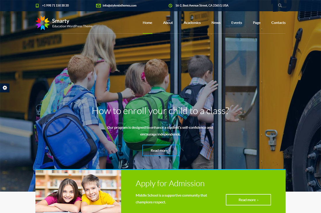 smarty elementary school WordPress theme