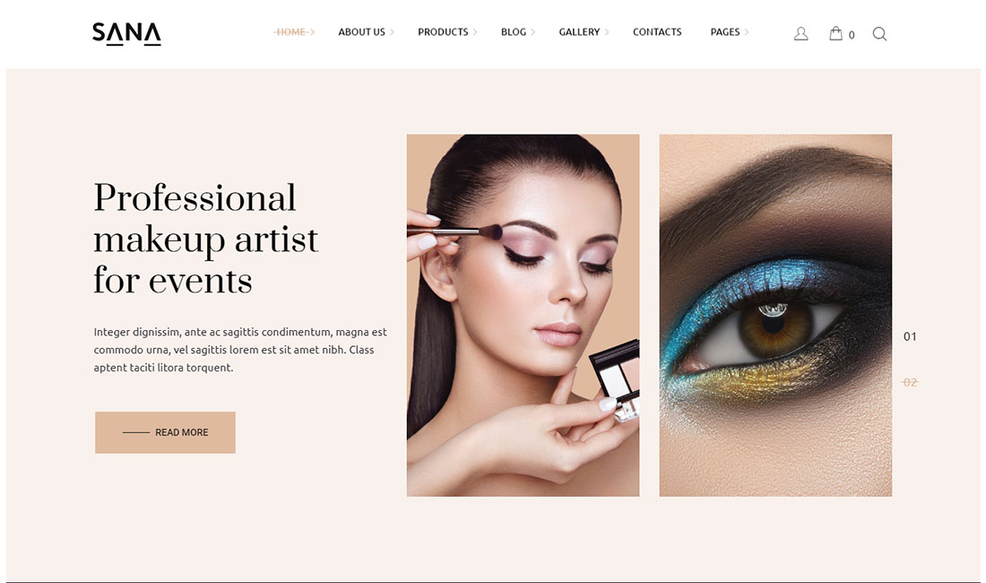 sana makeup artist wordpress theme