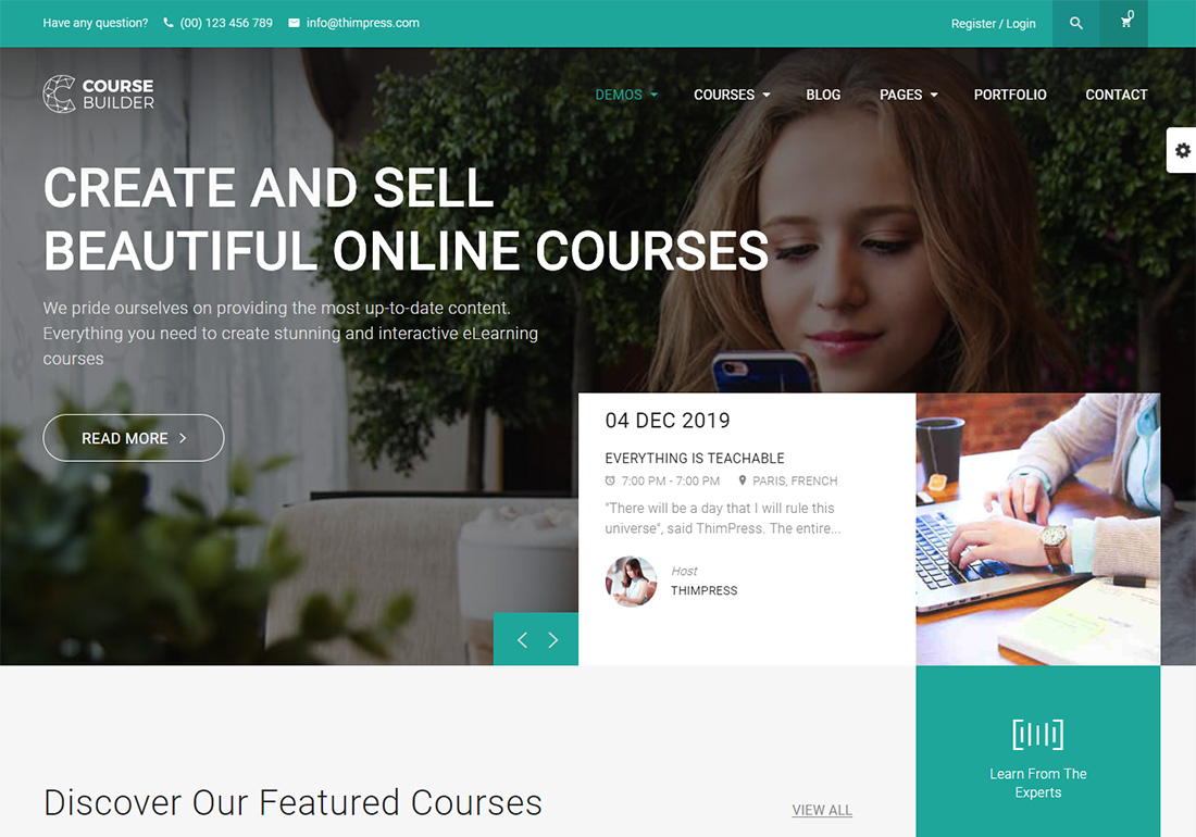 Course Builder LMS online course WordPress theme