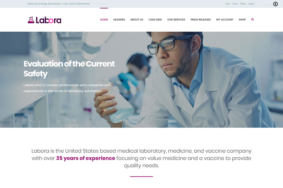 labora science wordpress theme