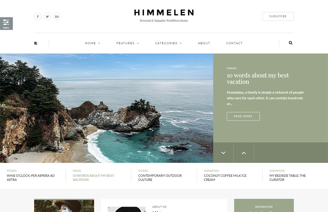 himmelen travel magazine theme
