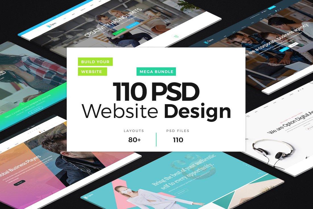 110 psd website designs