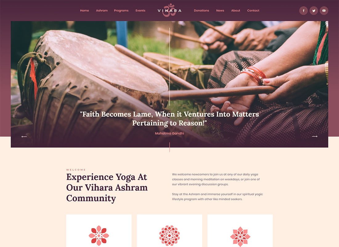 Vihara | Ashram Buddhist Temple WordPress Theme