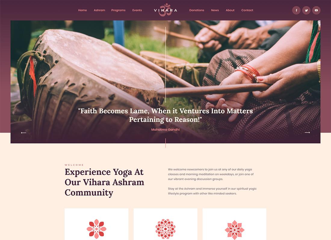 Vihara   Ashram Buddhist Temple WordPress Theme