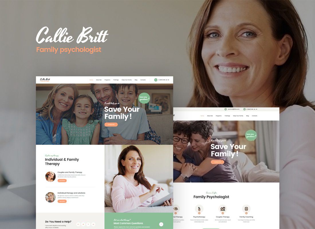Callie Britt | Family Counselling Psychology WordPress Theme