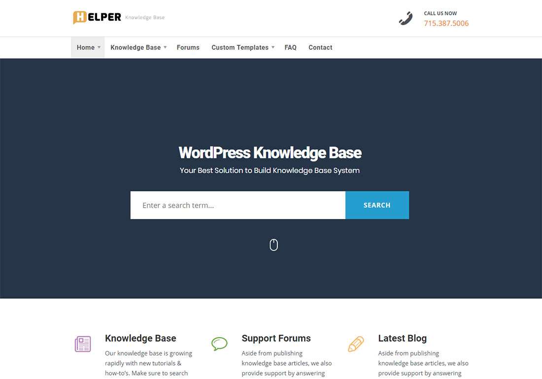Helper WordPress wiki theme