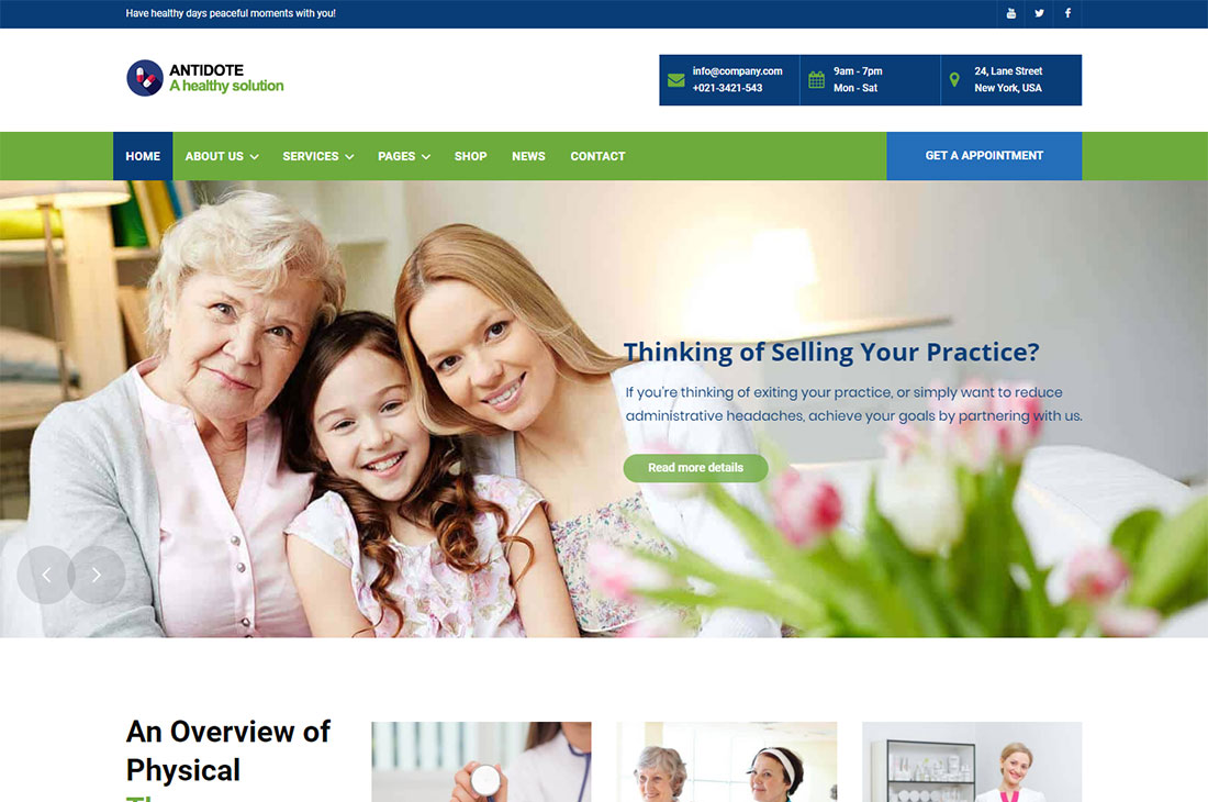 antidote elderly care wordpress themes