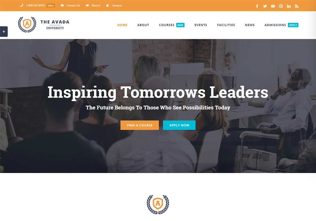 Avada online course WordPress theme