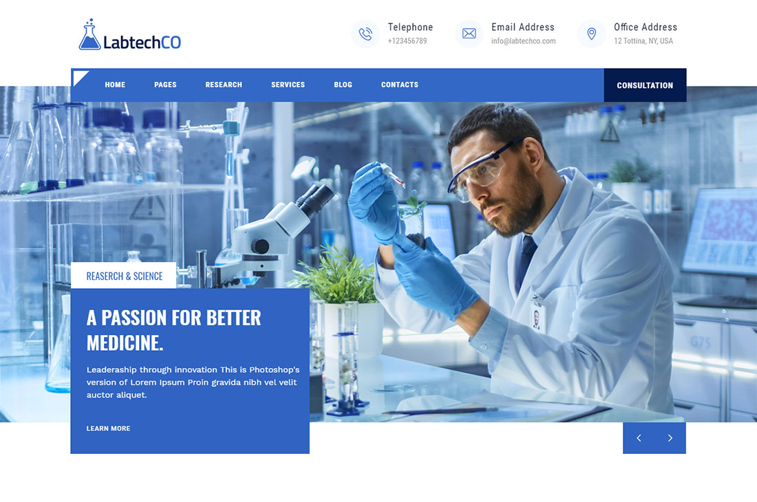 labtechco science wordpress theme