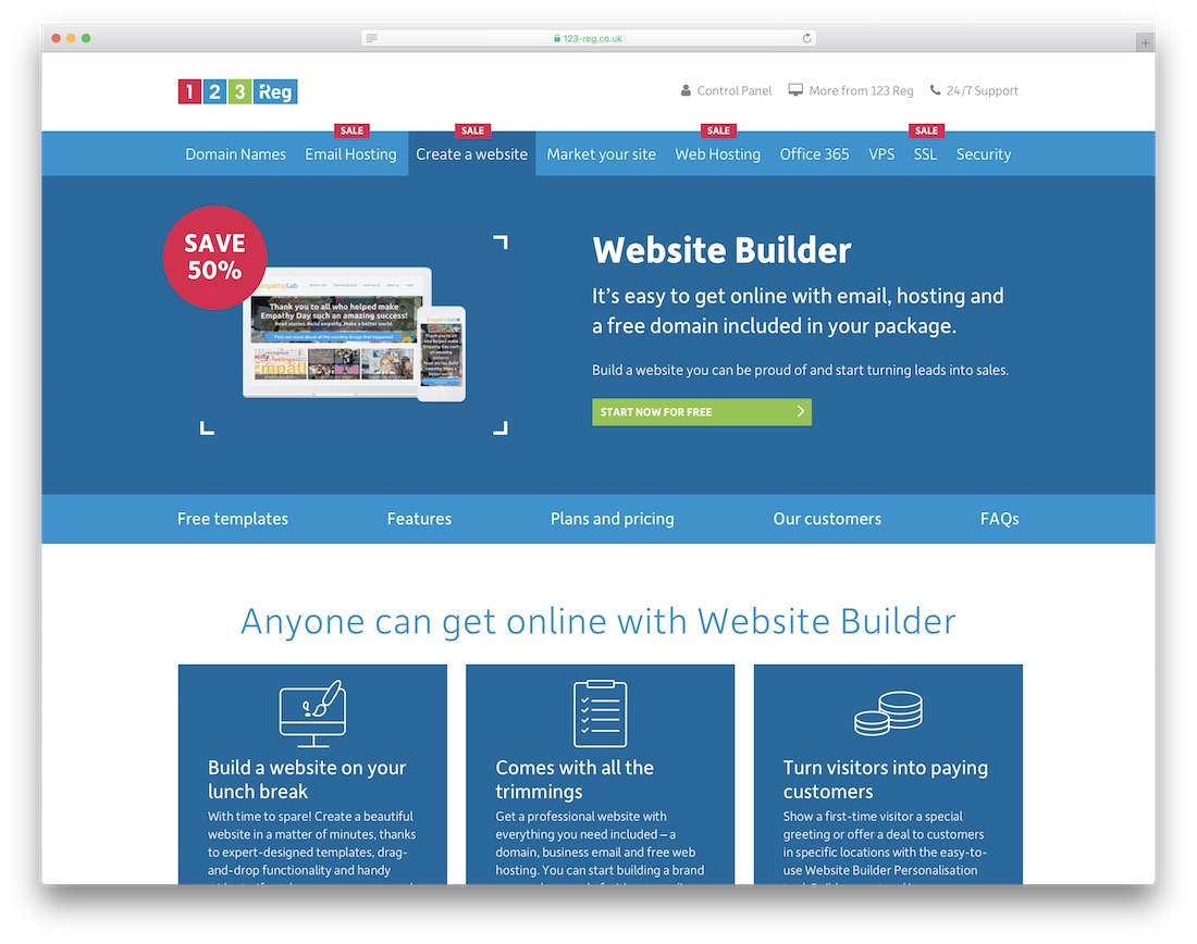 123 reg cheap website builder and hosting