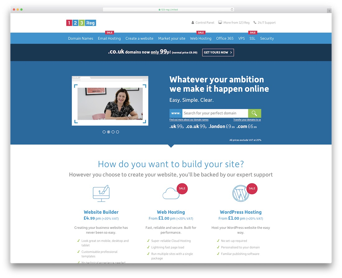 123 reg web hosting for personal website