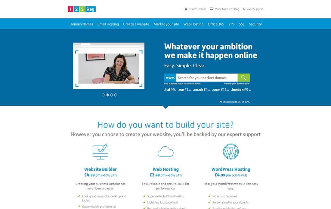 123 reg web hosting personal website