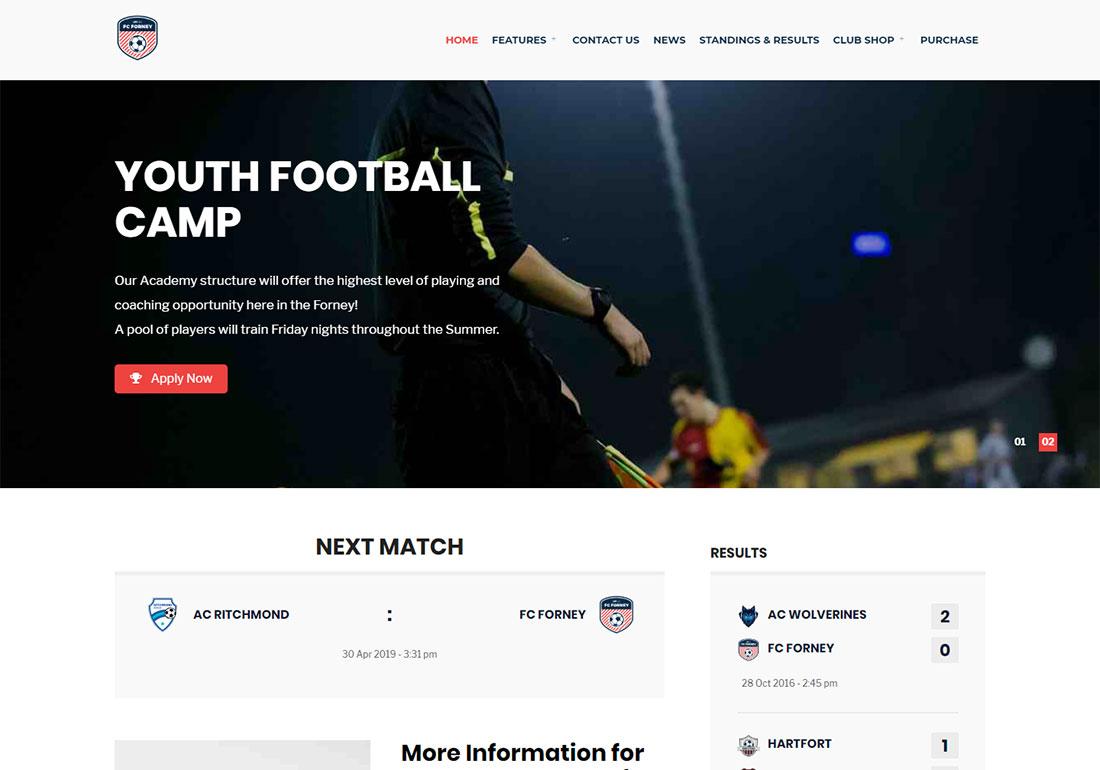 Sport Club baseball WordPress theme