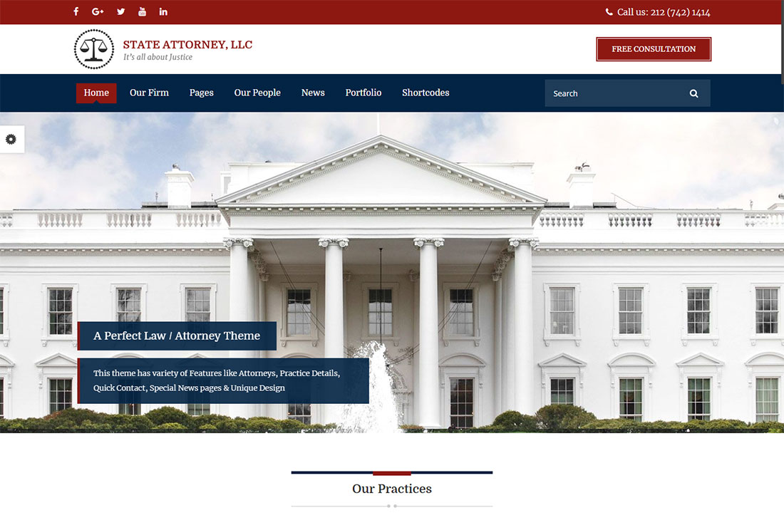 attorney & lawyer government WordPress theme