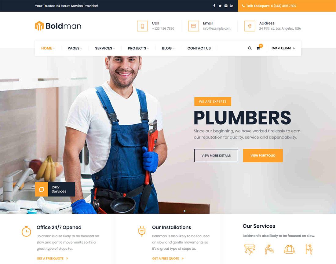 Boldman Plumber WordPress Theme