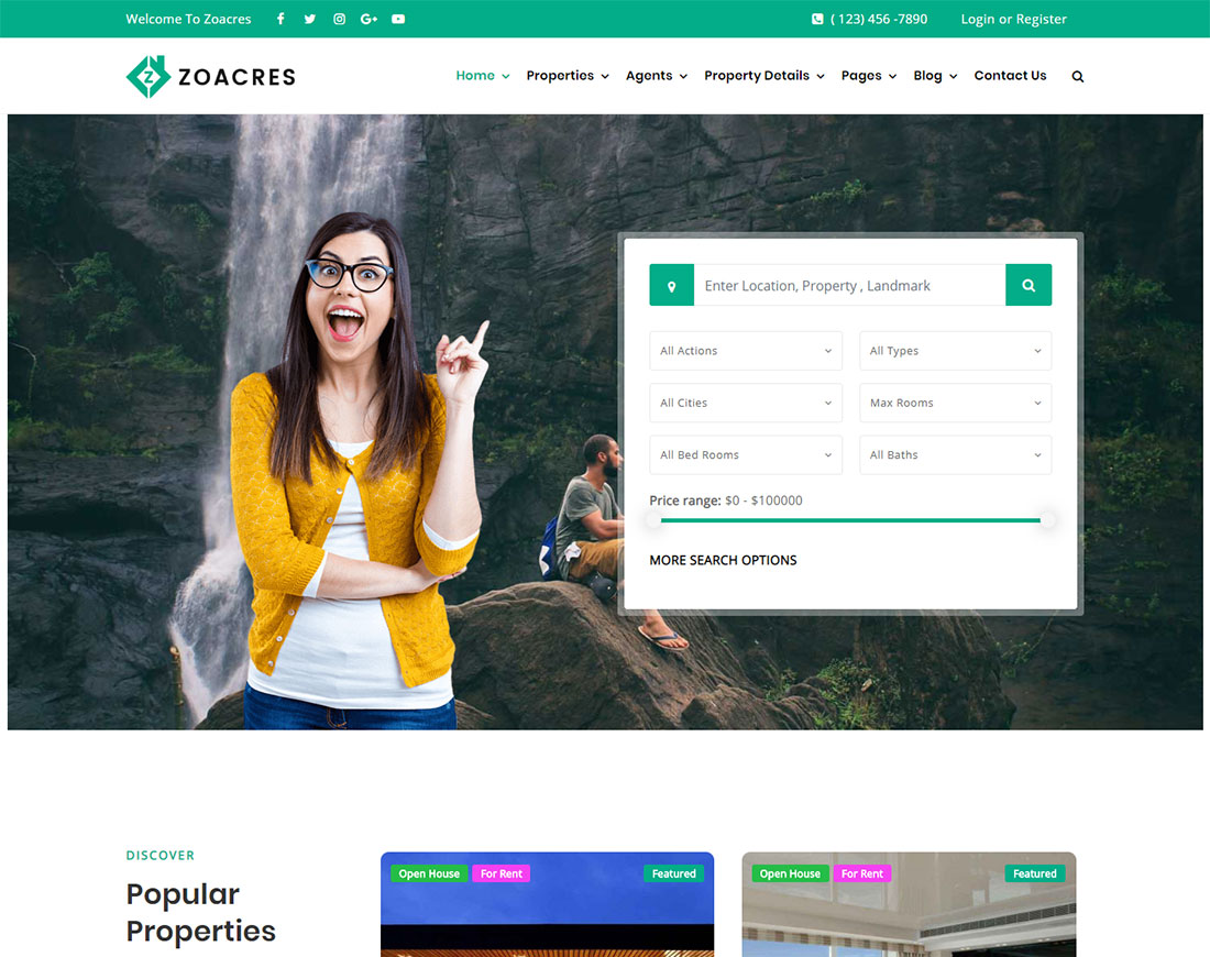 Zoacres - Property rental WordPress theme
