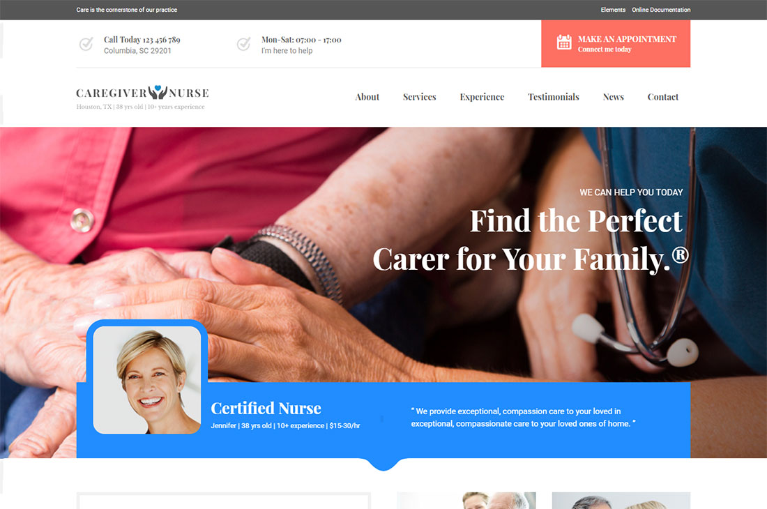 care elderly care wordpress themes