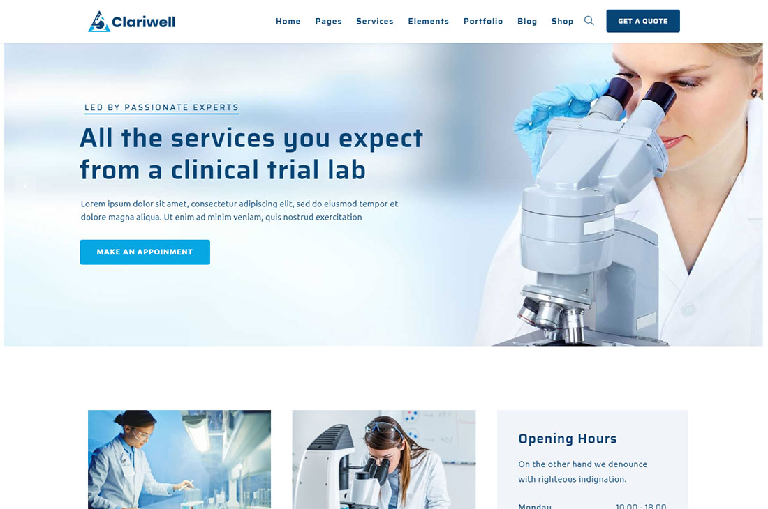 clariwell science wordpress theme