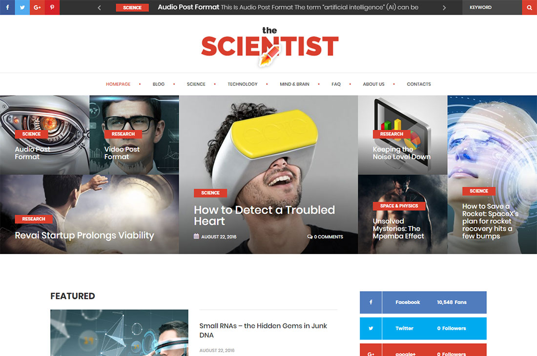 the scientist science wordpress theme