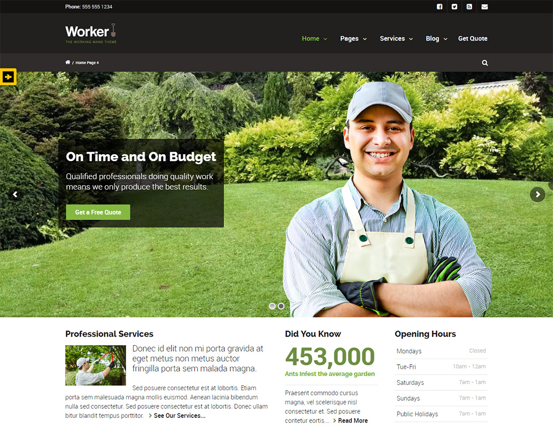 Worker WordPress Themes for Painters