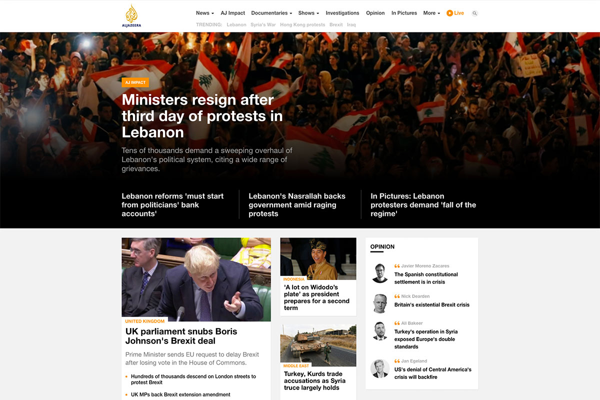 Aljazeera news website