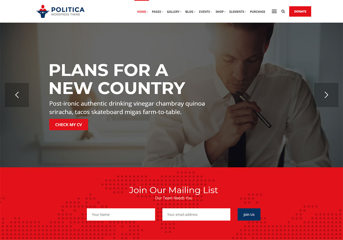 politica government WordPress theme