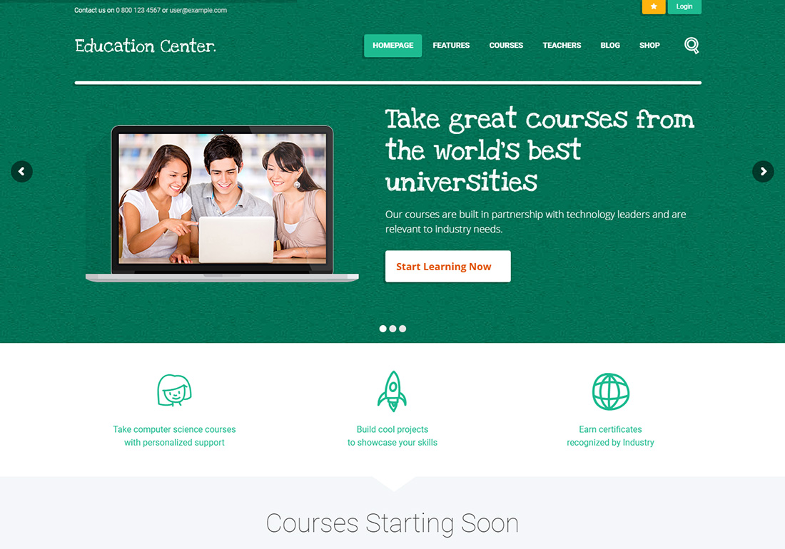 Education Center online course WordPress theme
