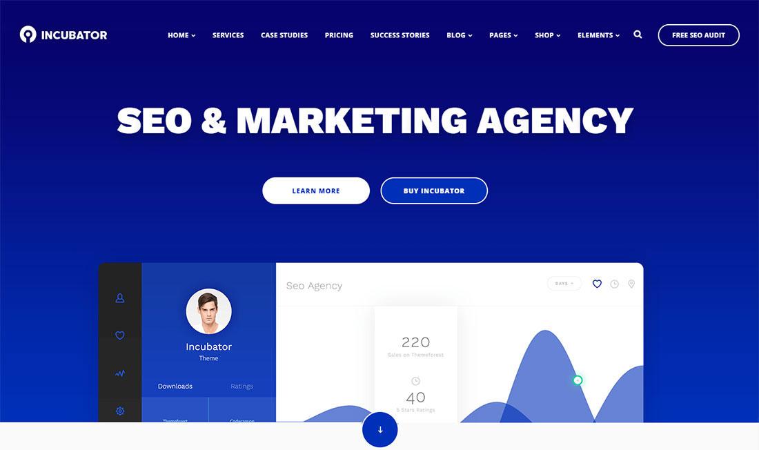Incubator seo agency WordPress theme
