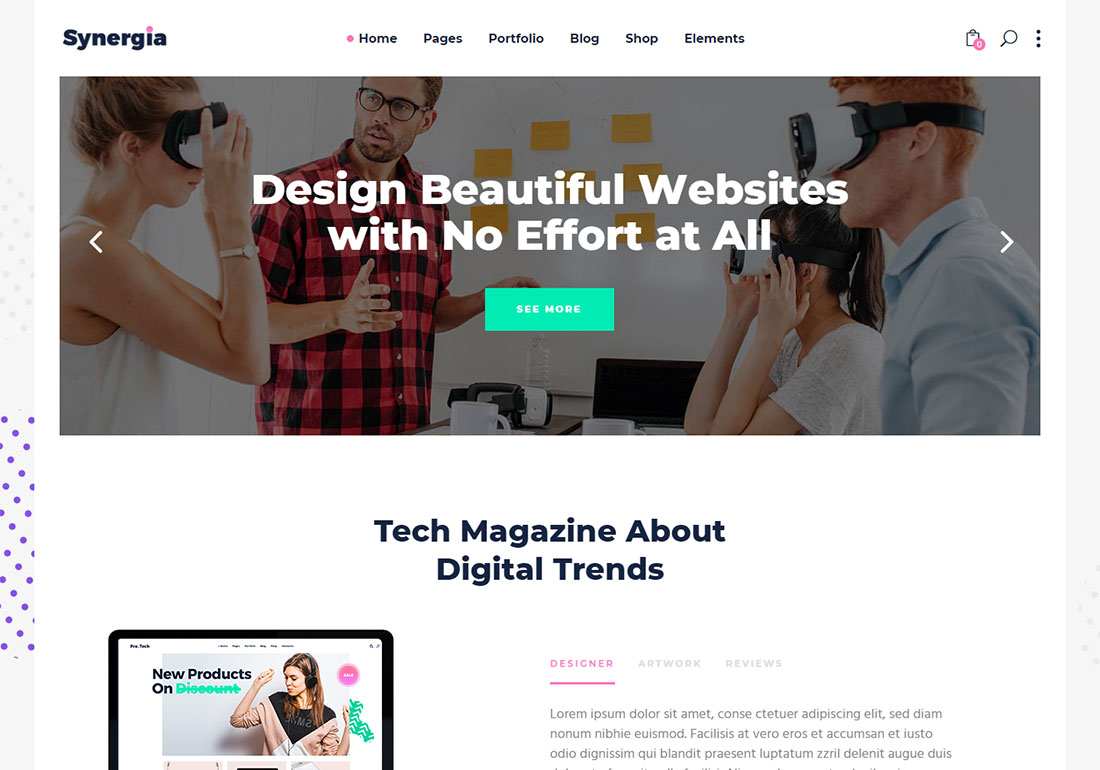 Synergia digital agency WordPress theme