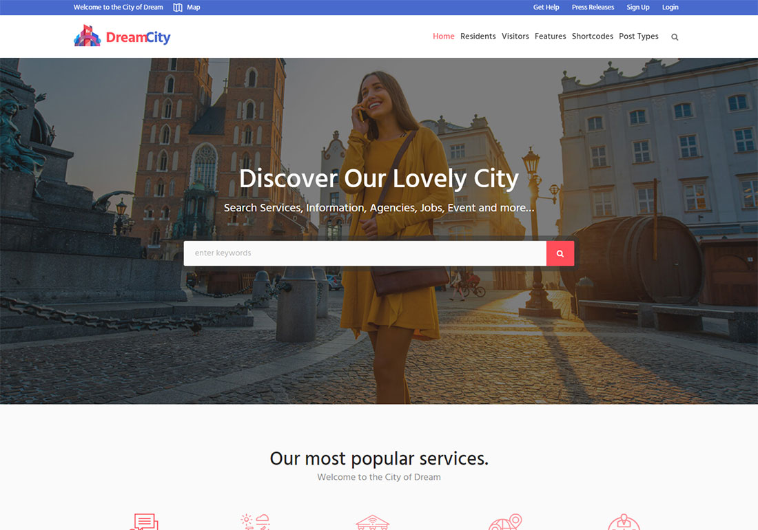 dream city government WordPress theme