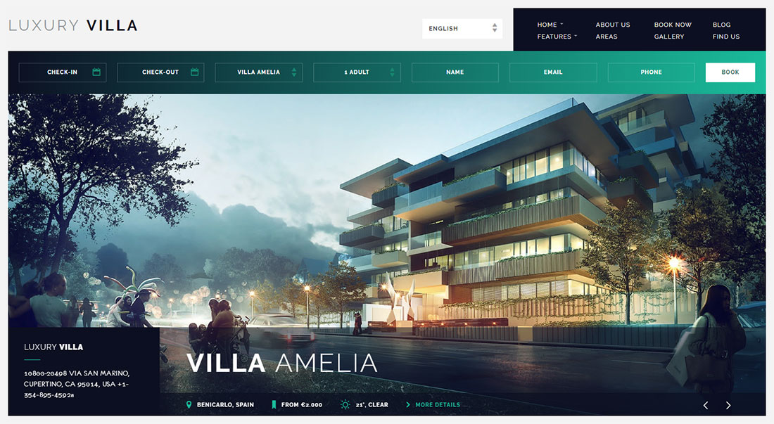 Luxury Villa - Property rental WordPress theme