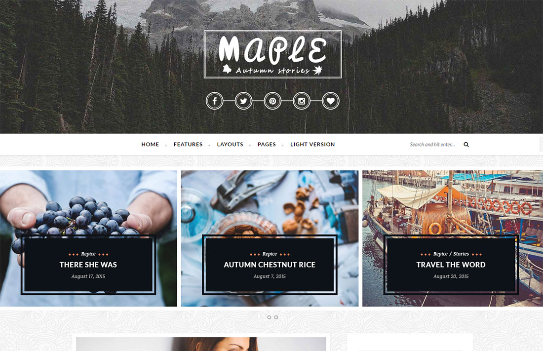 maple travel magazine theme