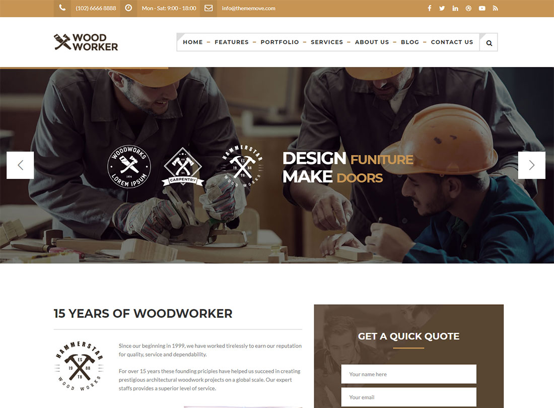 Carpenter & Woodworker WordPress Theme