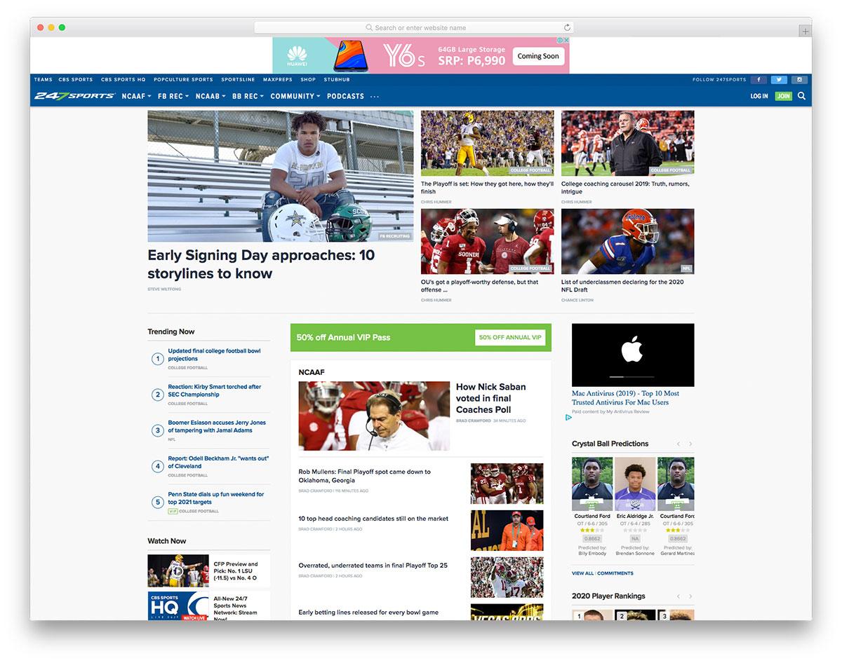 247 Sports blog design