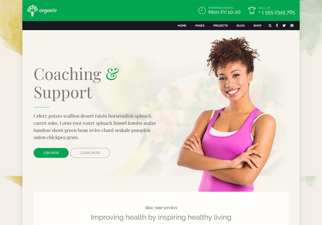 Organic Food - Nutrition coach WordPress theme