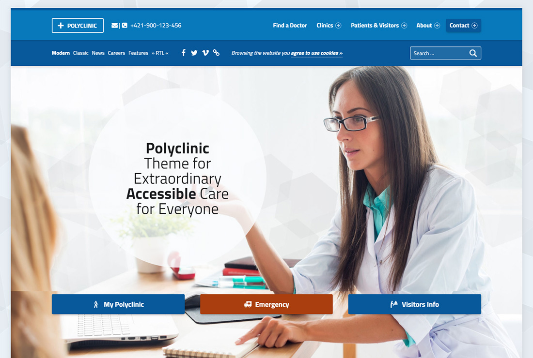 Polyclinic accessible WordPress theme
