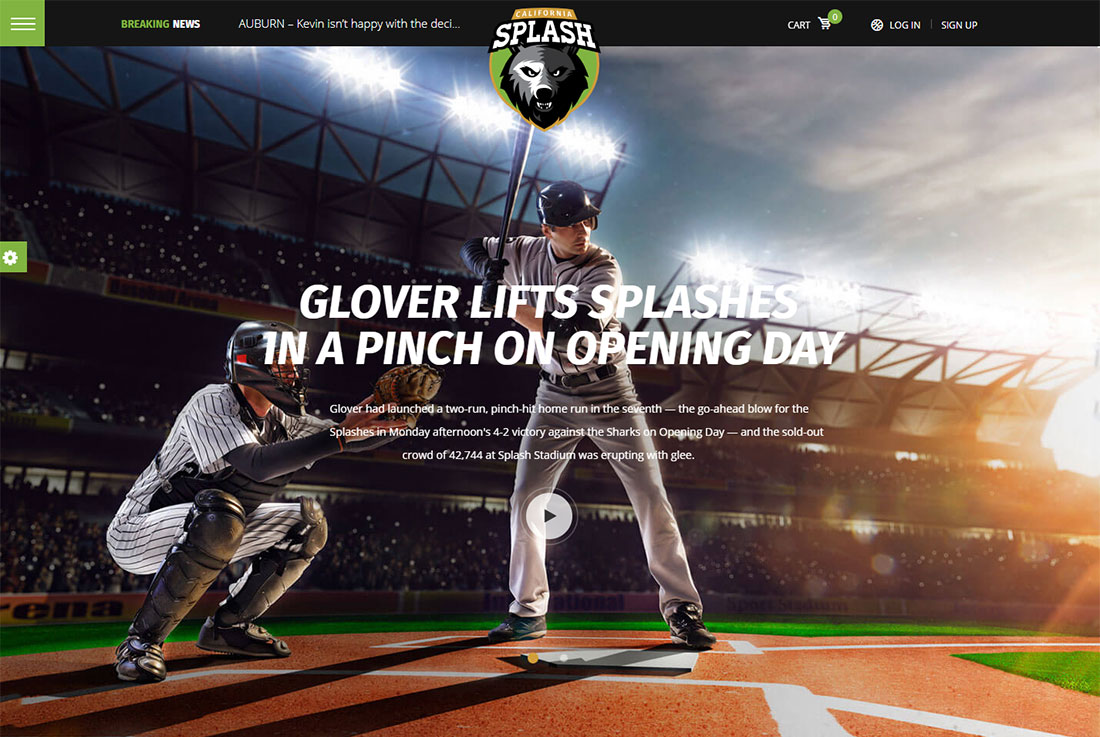 Splash Sport baseball WordPress theme