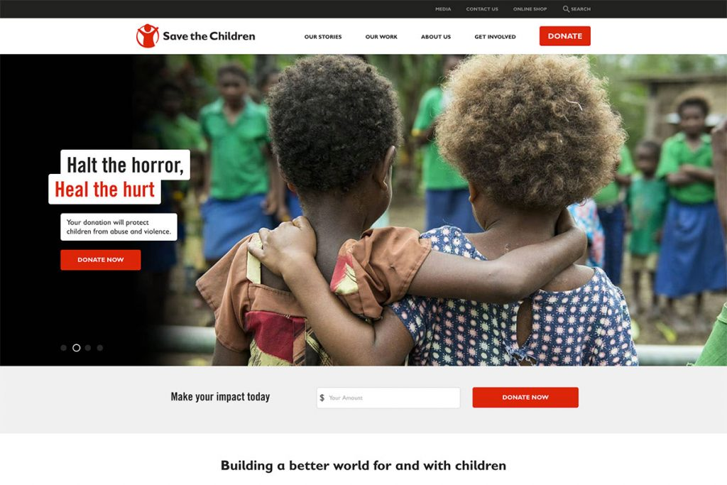 Save The Children charity website