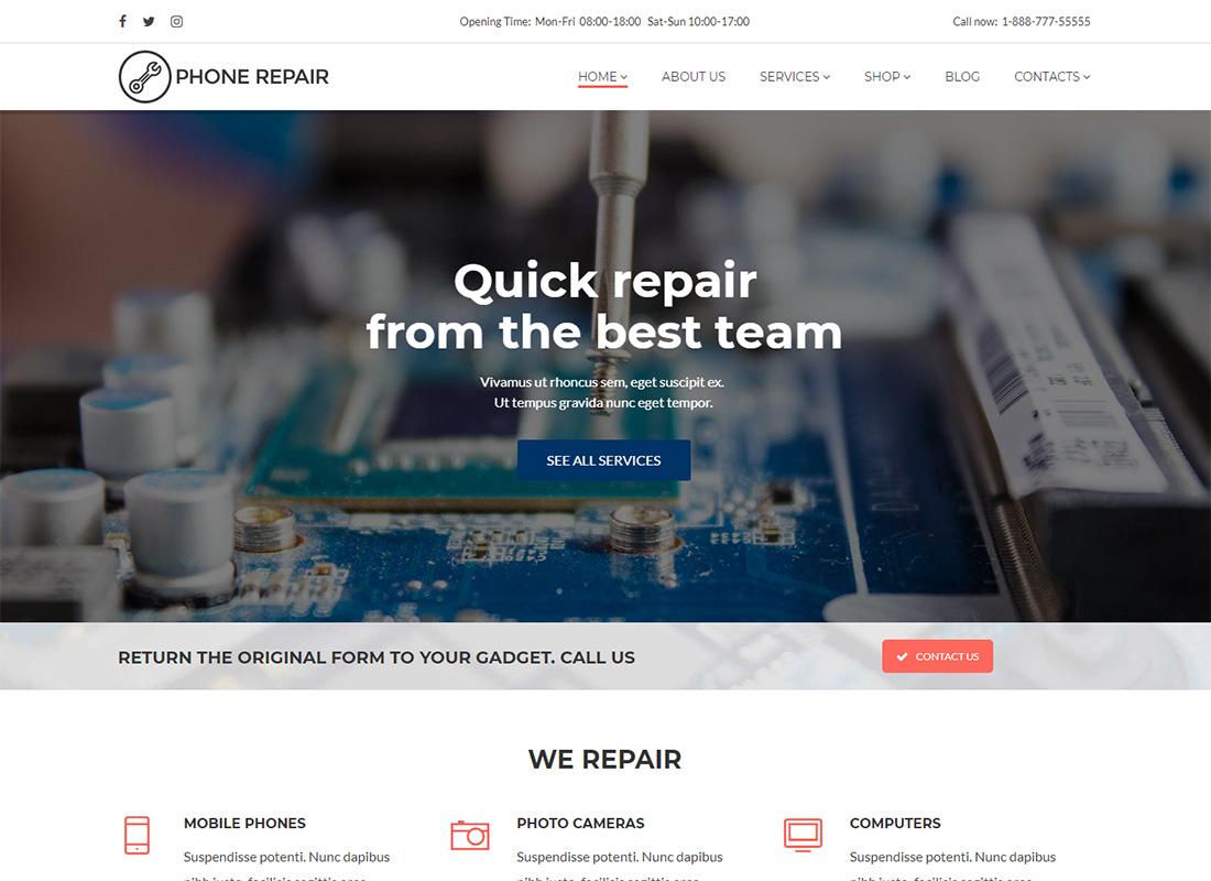 Phone Repair Computer Repair WordPress Themes