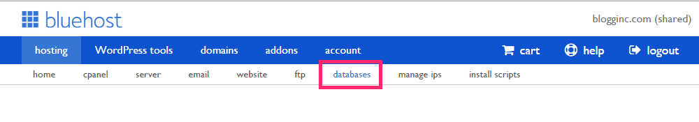 Databases tab