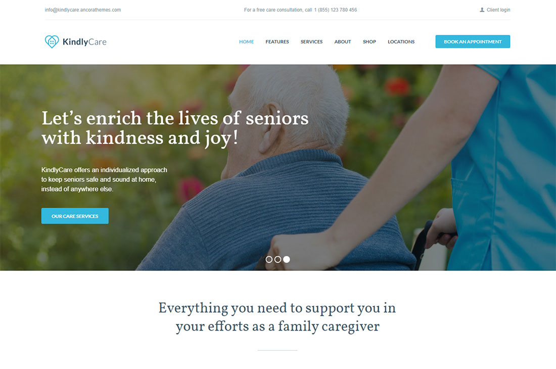kindlycare elderly care wordpress themes