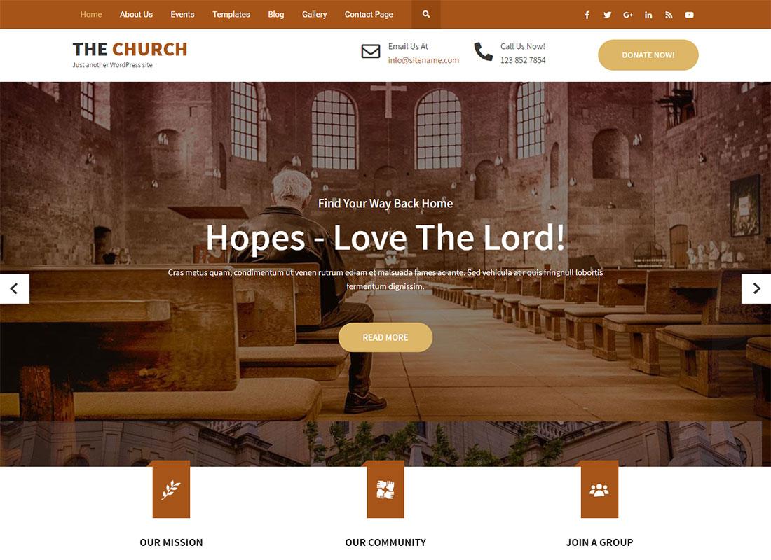 best free wordpress themes for church websites